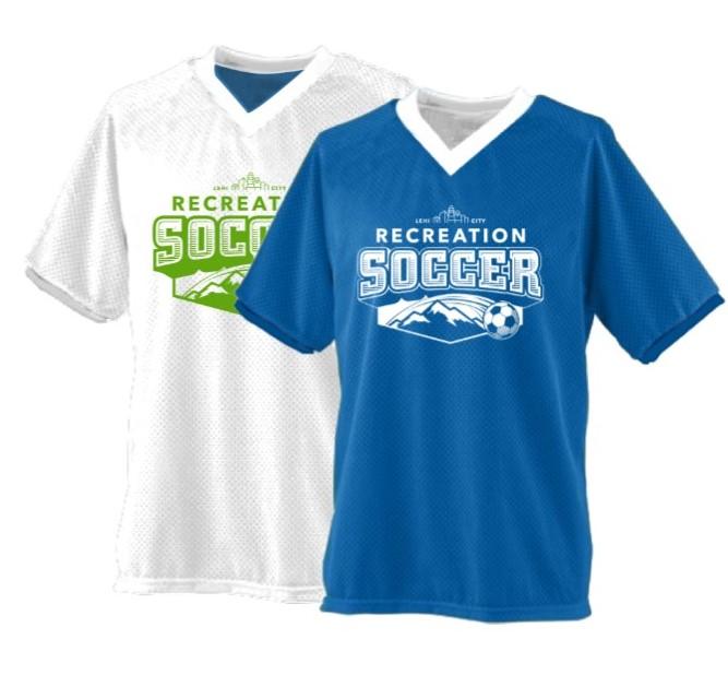 Both sides of reversible soccer shirt