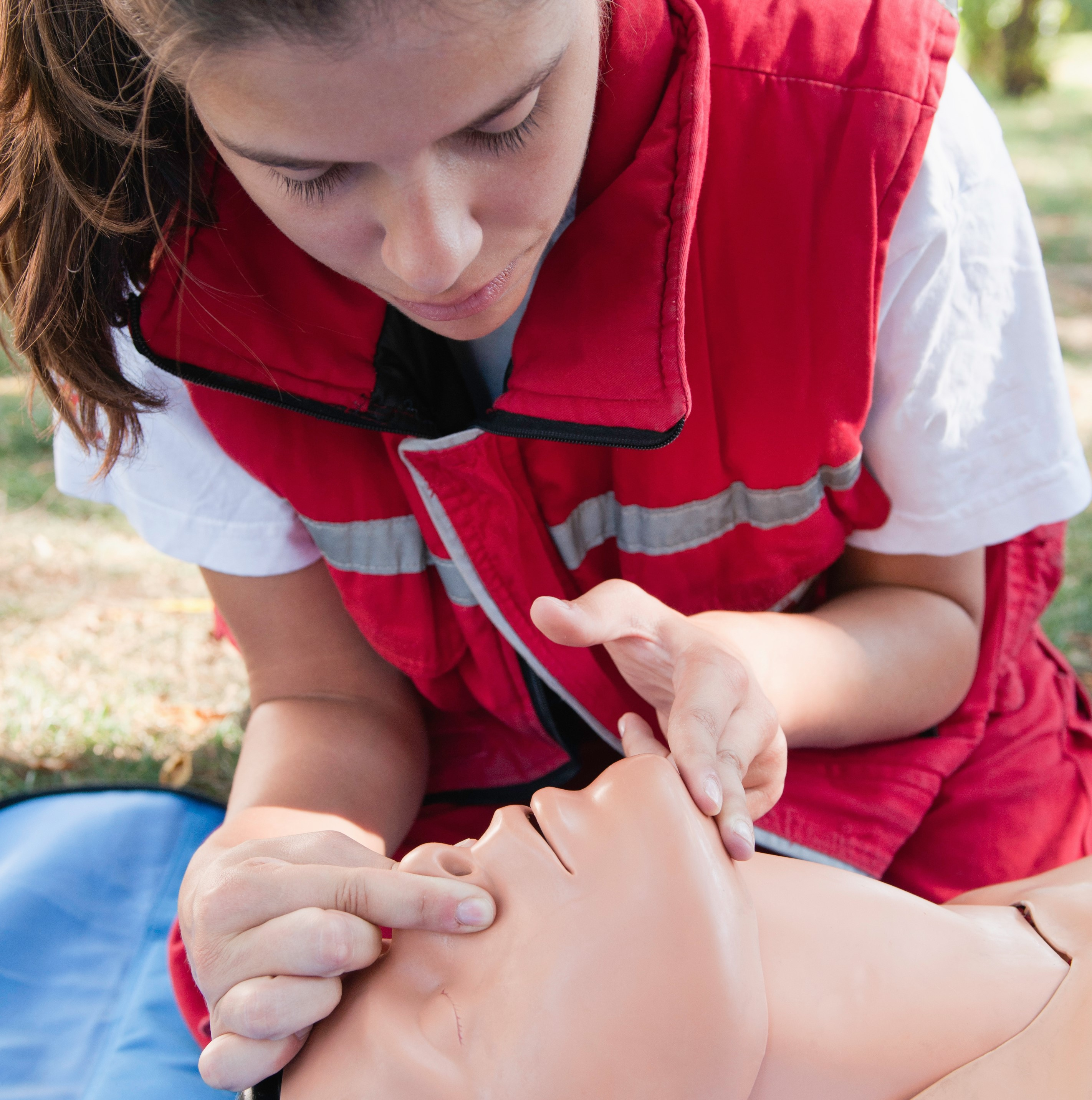 CPR participant and practice dummy