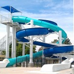 The slide tower at the Outdoor Pool
