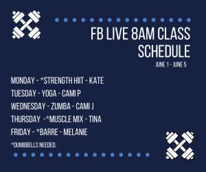 Facebook Live workout schedule