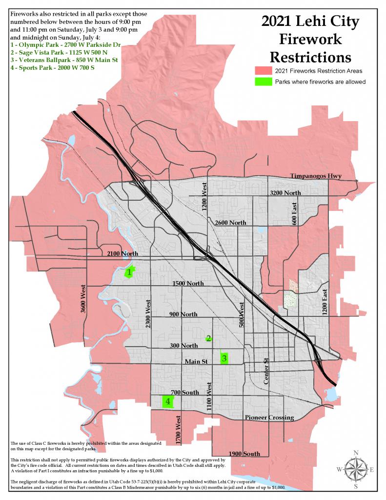 Lehi City Firework Restriction Map